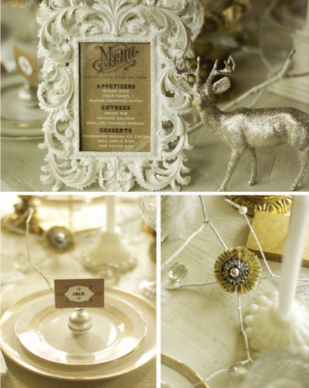 White and gold holiday table setting ideas from The Party Dress magazine