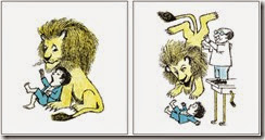 Two of Sendak's drawings for <i>Pierre: A Cautionary Tale</i>, from his Nutshell Library, 1962<br />