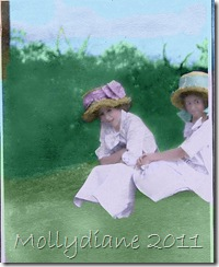 Easter bonnets Ivah and Marion 1908