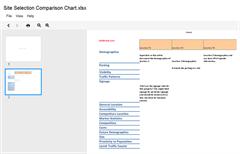 Site Comparison Chart EXCEL restaurants