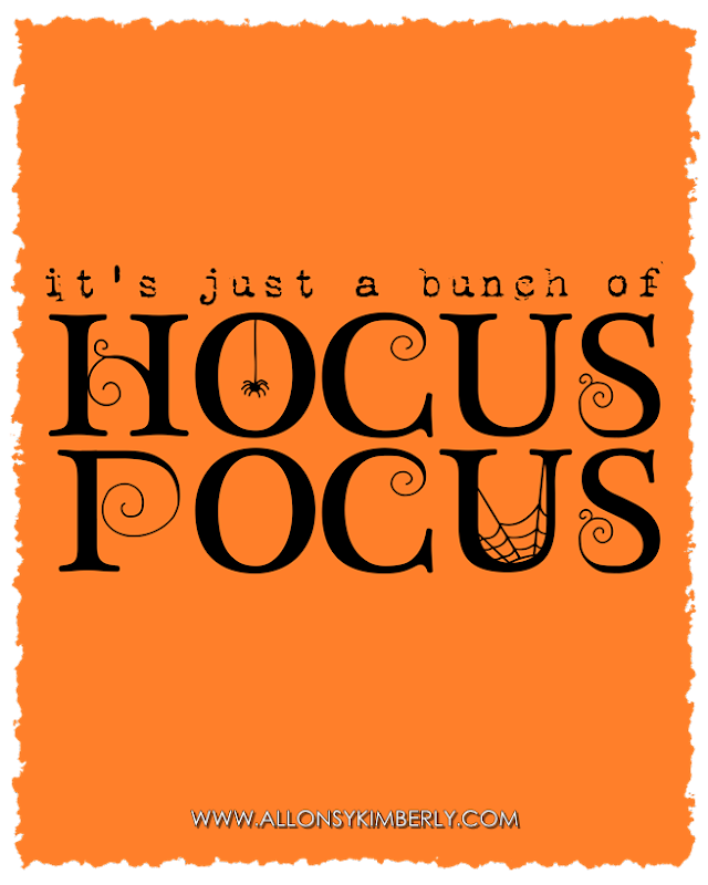 Freebie: It's Just a Bunch of Hocus Pocus Halloween Printable | allonsykimberly.com