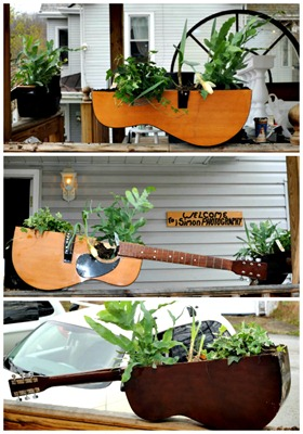 guitar planter half collage
