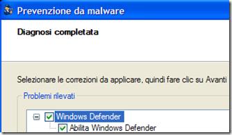 Prevenzione da malware Fix it Microsoft Diagnosi completata