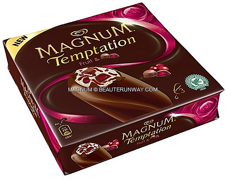 Magnum New Temptation Fruit bon bon vanilla ice cream swirled fruit of the forest  sauce juicy cranberry pieces dark chocolate