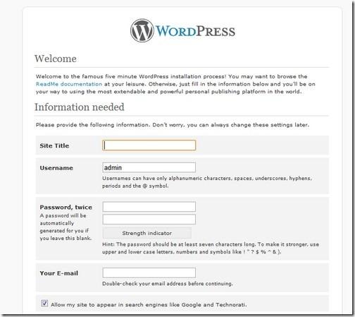 wordpress web details
