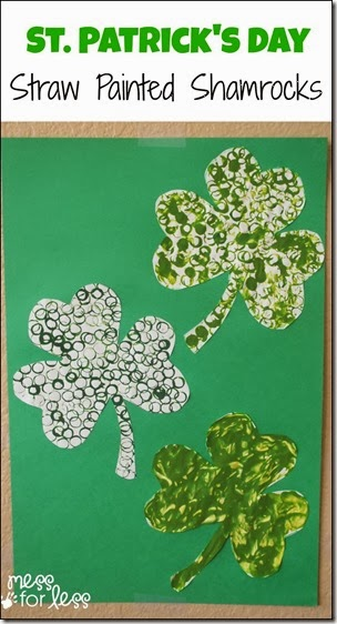 straw painted shamrocks