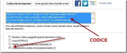 codice incorporamento youtube
