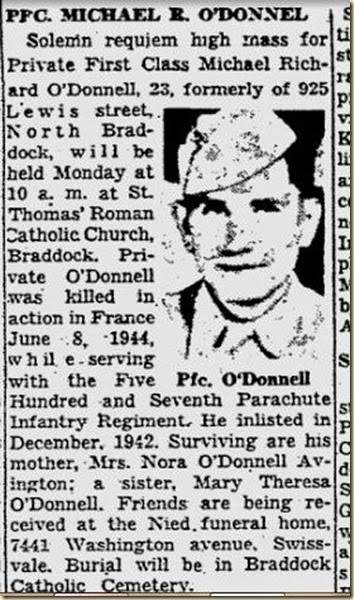 Michael O'Donnell obit PPG 3 September 1948