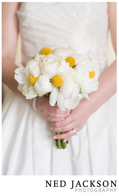 white peony and billy ball bouquet