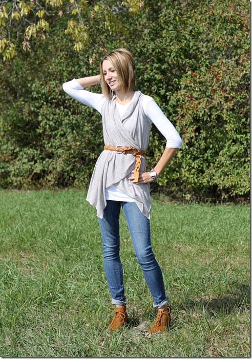 Easy no sew knit vest and ankle boots