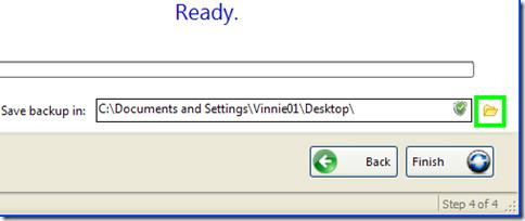 BrowserBackup Pro avviare la creazione della copia di backup del browser