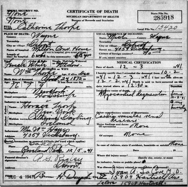 THORPE_Catherine nee THORP_death cert 3 Dec 1941_DetroitWayneMichigan