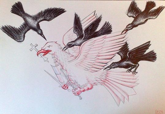 Vultur atacat de ciori