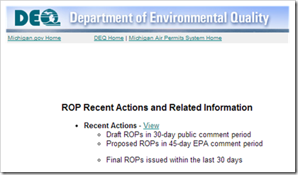 Michigan Department of Environmental Quality DEQ  Air Permits system