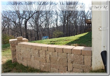 Stamped concrete patio wall {A Sprinkle of This . . . . A Dash of That}