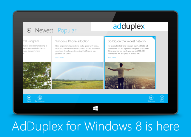 AdDuplex for Windows 8 is here!