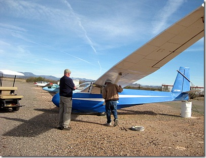 Dave with Rick doing a preflight.