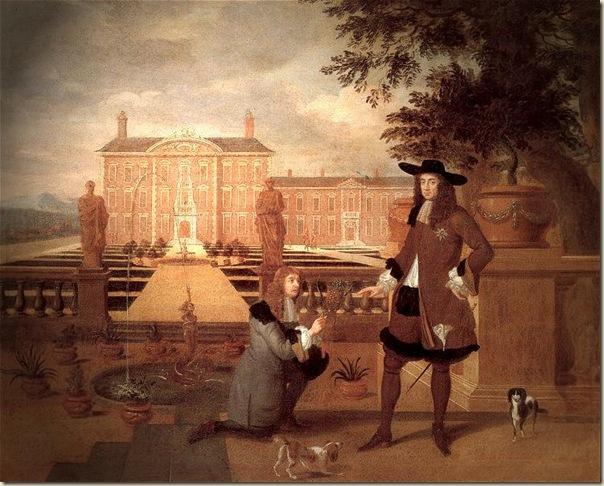 Hendrick_Danckerts, John Rose présentant le premier ananas poussé en Angleterre à Charles II