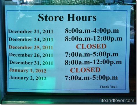 Good Shepherd holiday store hours