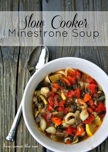 Here Comes the Sun Slow Cooker Minestrone Soup