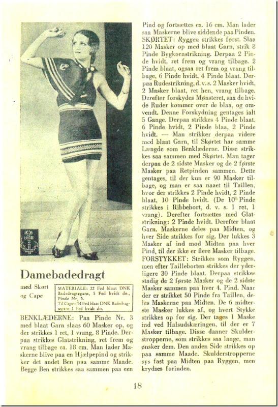 Strikket badedragt anno 1934