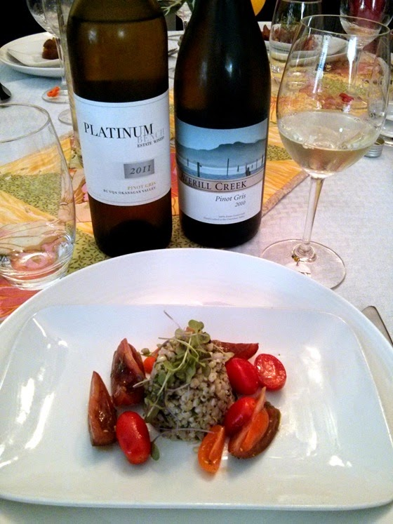 Platinum Bench & Averill Creek Pinot Gris with Buckwheat Tomato Salad