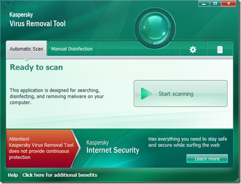Kaspersky Virus Removal Tool 2011 Start Scanning