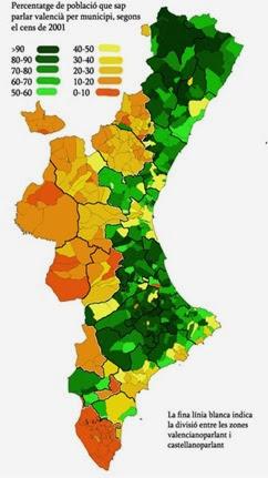 mapa lingüistica del País Valencian