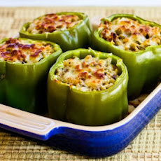 Stuffed Green Peppers with Brown Rice, Italian Sausage, and Parmesan