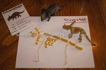 Triceratops Craft for Preschoolers using Pasta
