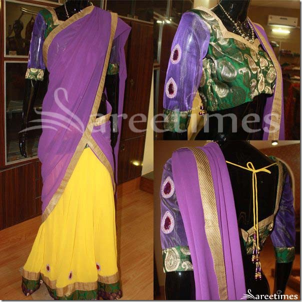 Purple_Yellow_Light_Weight_Half_Saree