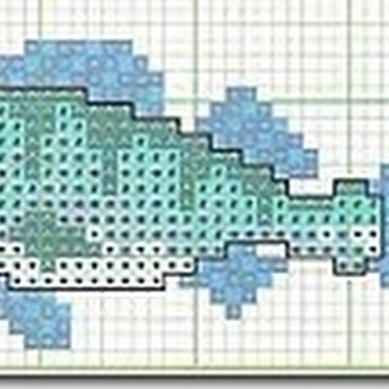 Esquemas de peces en punto de cruz, delfín, ballena, etc.