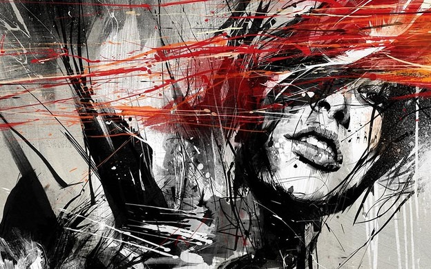 black-and-white-and-red-painted-girl