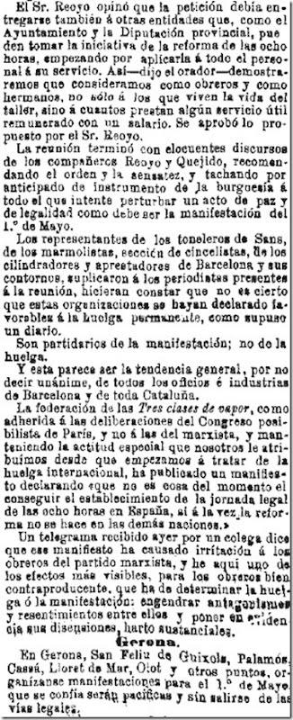 1890-04-30 - La Iberia - 01 (Preparativos del 1º de Mayo - Barcelona - 3 y Gerona)