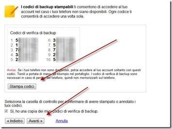 codici di backup per account Google