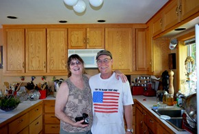 Laura and hubby Alvin in the kitchen he built