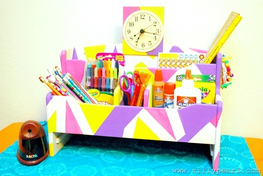 Geometric Painted Back to School Organizer