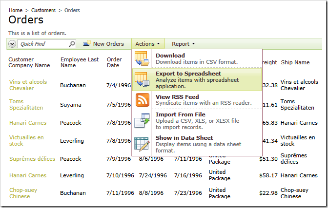 &#39;Export to Spreadsheet&#39; action in Code On Time web applications