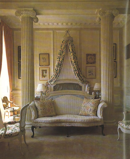 The bedroom at Badminton, previously used by the Duchess of  Beaufort, is unbelievable with Ionic pillars, French furniture and corona, as well as the panelling.