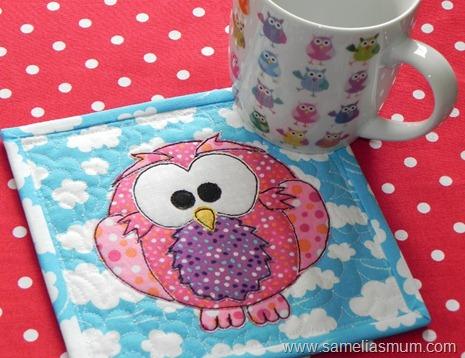 Pink Owl Mug Rug