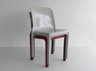 Selene stacking chair, gray with maroon