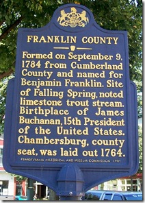 Franklin County marker in Chambersburg, PA
