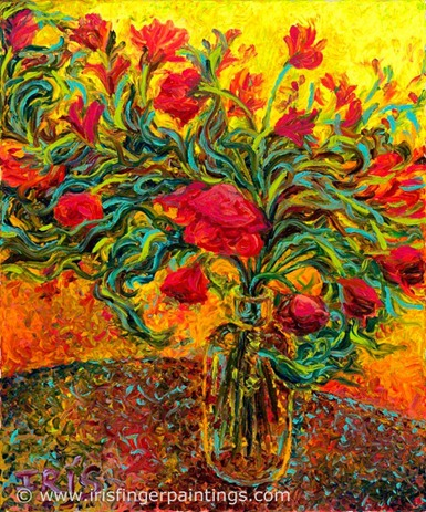 iris scott fingerpainting roses