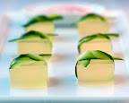 Cucumber-lime margarita shots tied with cucumber ribbons
