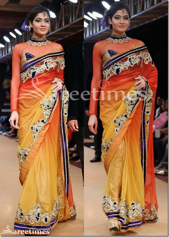 Brown_Yellow_Dual_Color_Saree