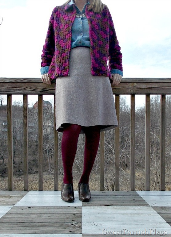 Vintage jacket, denim shirt, wook skirt, marsala tights, brown booties1