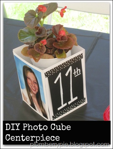 plumberry pie diy photo cube centerpiece