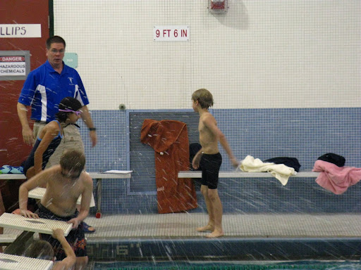 Mark Rauterkus coaching the Phillips Elementary School Swim Team at the city championship meet in warm-ups in December 2008.