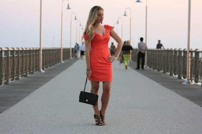 lipsy orange dress, chanel 2.55