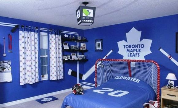 En este dormitorio temu00e1tico de deportes, se ha diseu00f1ado una cabecera ...